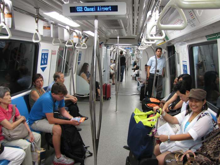 photo inside Singapore subway car at the airport