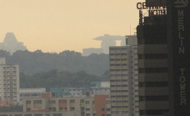 view of the Singapore Sands Skypark in the distance