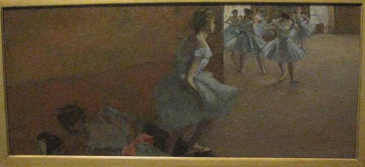 photo of Edgar Degas painting showing dancers climbing a staircase