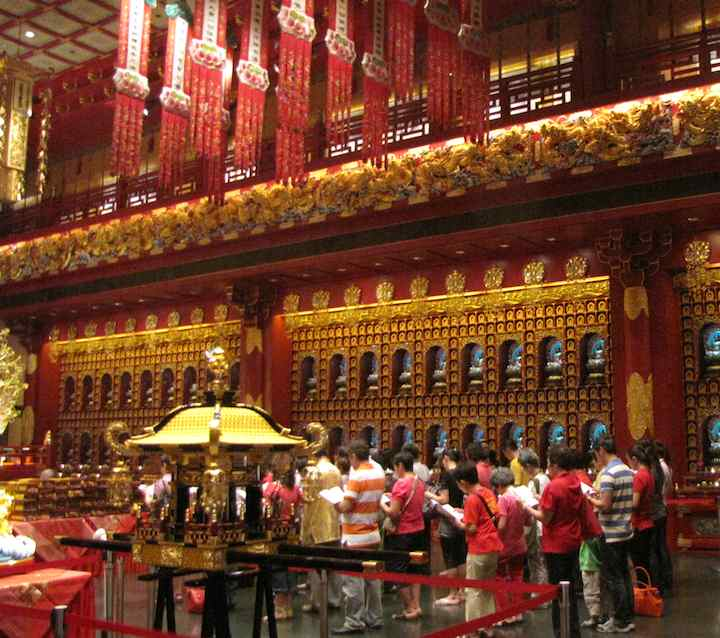 view of the main hall of the  Buddha Tooth Temple