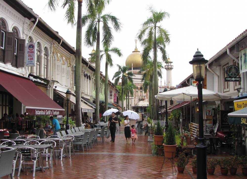 Pedestrian street lined with shops